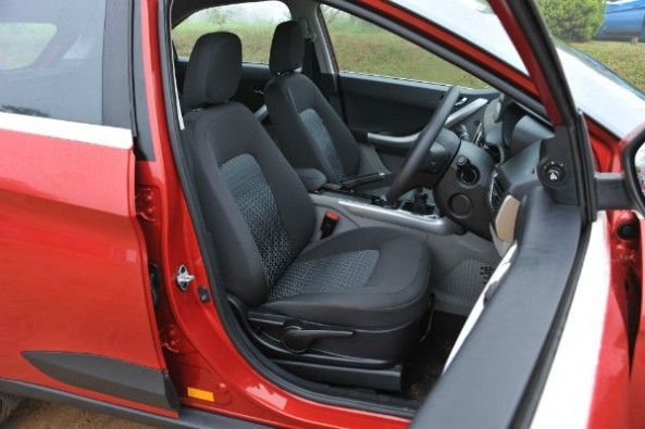 Front seats are big and comfy, but A-pillar can obstruct vision.