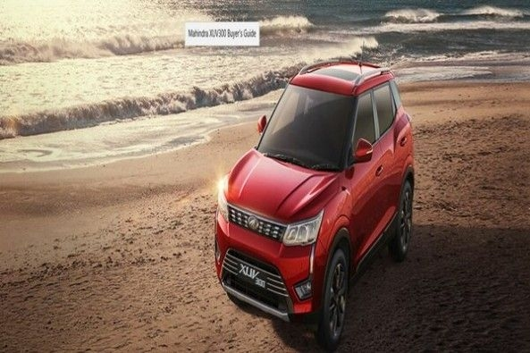 Red Color Mahindra XUV300 on Sea Shore