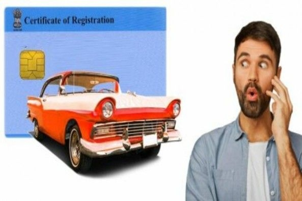 Blank Vehicle Registration Sample Form With Red Car and Shocked Driver