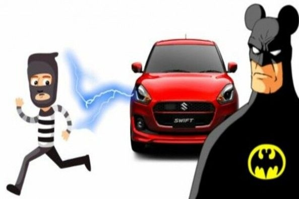 Cartoon Figure of Batman with Red Color Maruti Car and Car Thief in Background