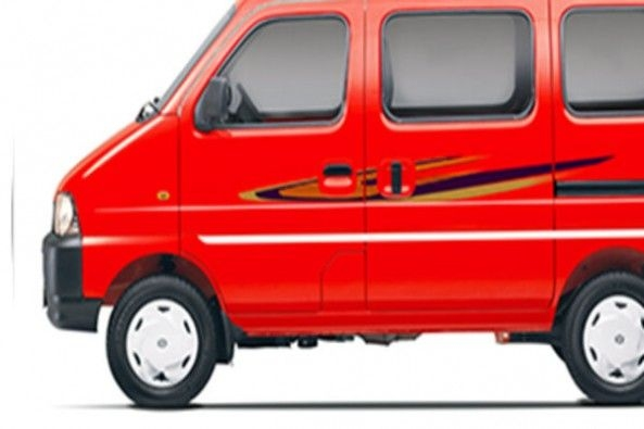 Red Color Maruti Eeco Side Profile