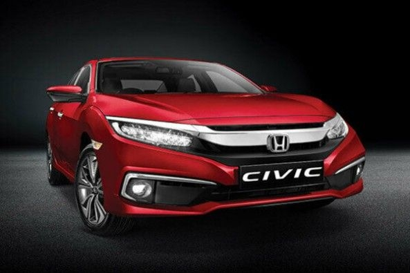 Red Color Honda Civic Front Profile