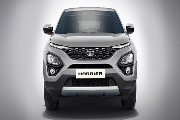 Aerial Silver Color Tata Harrier Front Profile