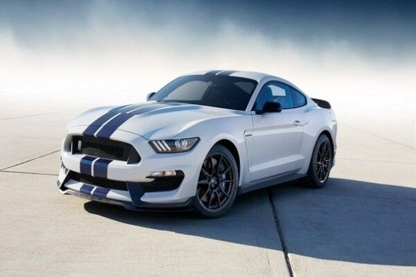 Blue-White Color Ford Shelby Front Profile