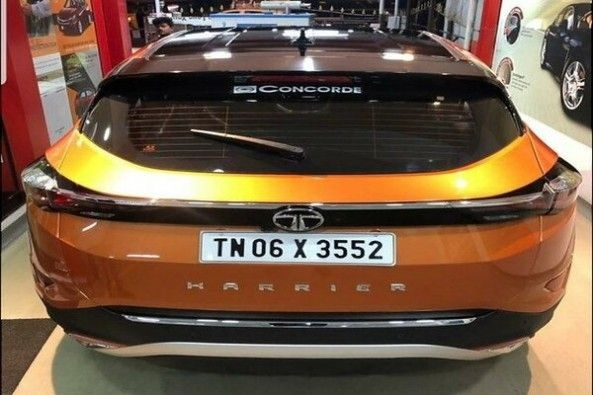 Copper Color Tata Harrier SUV Rear Profile