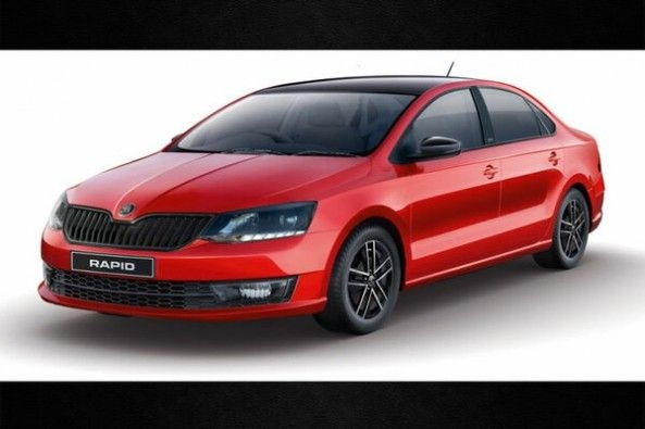 Red Color Skoda Rapid Front Profile