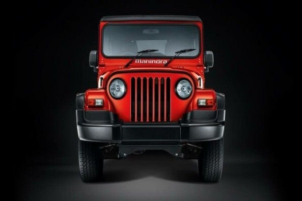 Red Color Mahindra Thar Front Profile