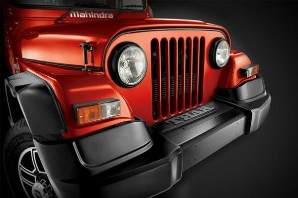 Red Color Mahindra Thar Headlights and Grill