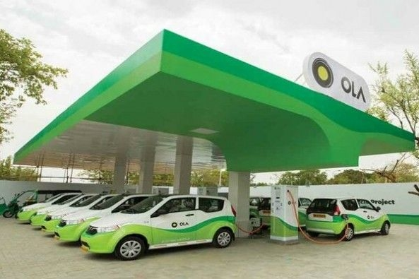 Electric Cars Charging at Ola Stations