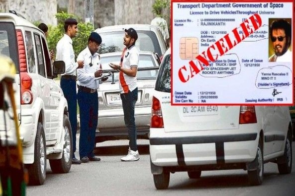 Traffic Police Checking Licenses on Busy Road