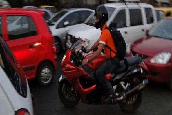 Red Color Superbike With Driver