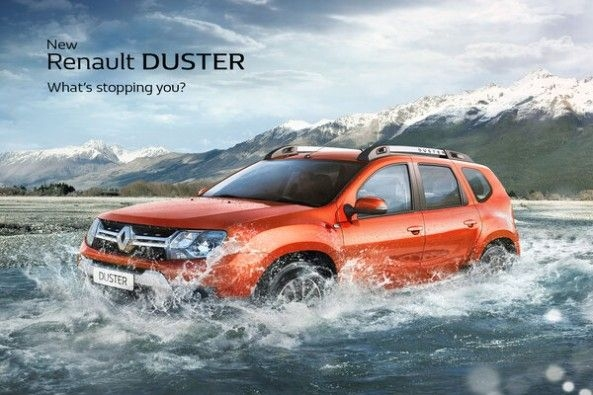 Copper Color Renault Duster Side Profile in Water