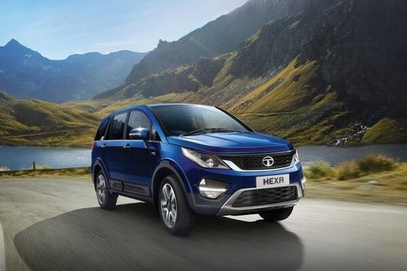 Blue Color Tata Hexa Front Profile