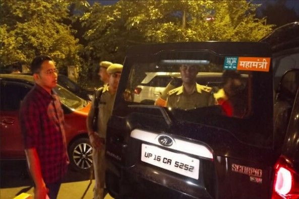 Traffic Police Seizing Car With Illegal Sticker