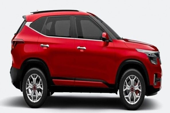 Red Color Kia Seltos SUV Side Profile