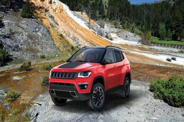 Red Color Jeep Compass Front Profile