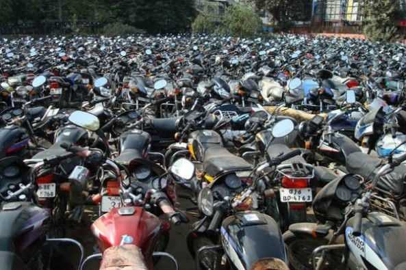Wrong Parking of Motorcycles