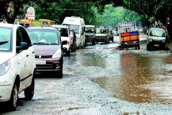 Potholes on Roads in India After Rains