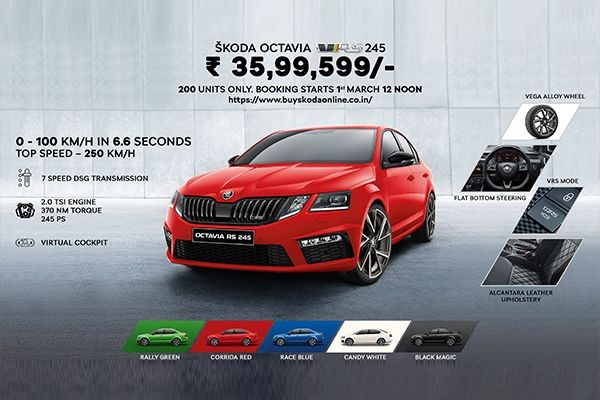 Skoda Octavia RS 245 Bookings Start from March 1, 2020